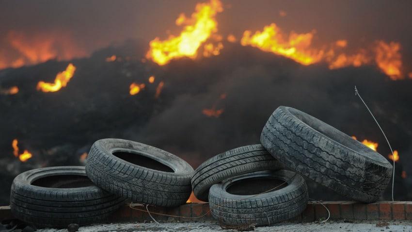 pneu en feu
