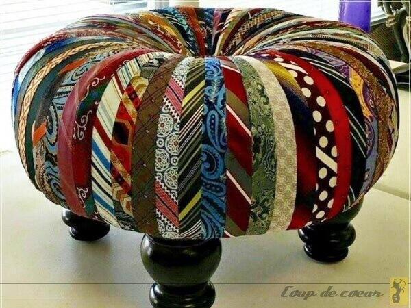 Pouf cravates recyclées