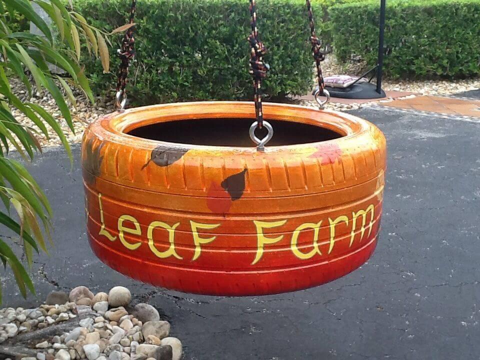 Balançoire recyclage pneus automne